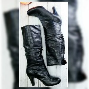 🍁Slouchy Black Leather Boots🍁